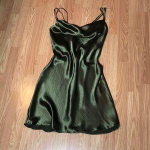 Olive green silk mini dress